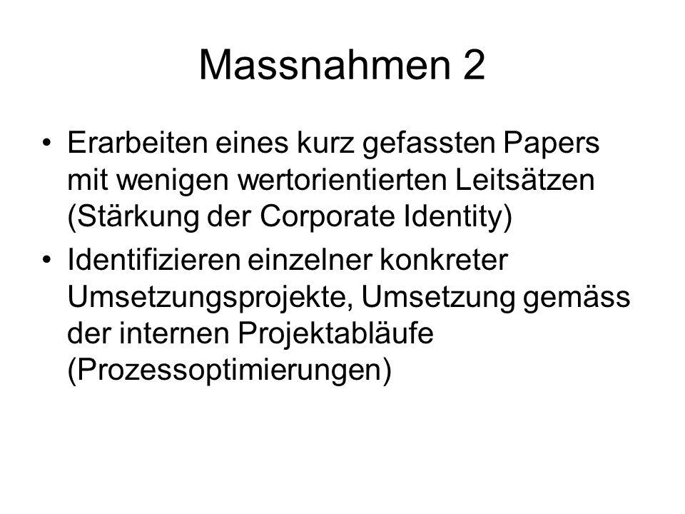 Massnahmen 2 Erarbeiten eines kurz gefassten Papers mit wenigen wertorientierten Leitsätzen (Stärkung der Corporate Identity)