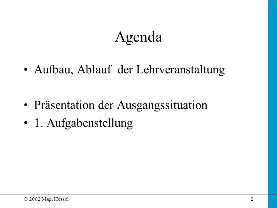 Agenda Aufbau, Ablauf der Lehrveranstaltung