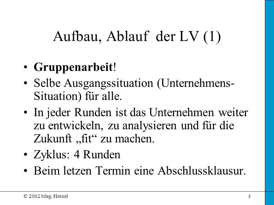 Aufbau, Ablauf der LV (1) Gruppenarbeit!
