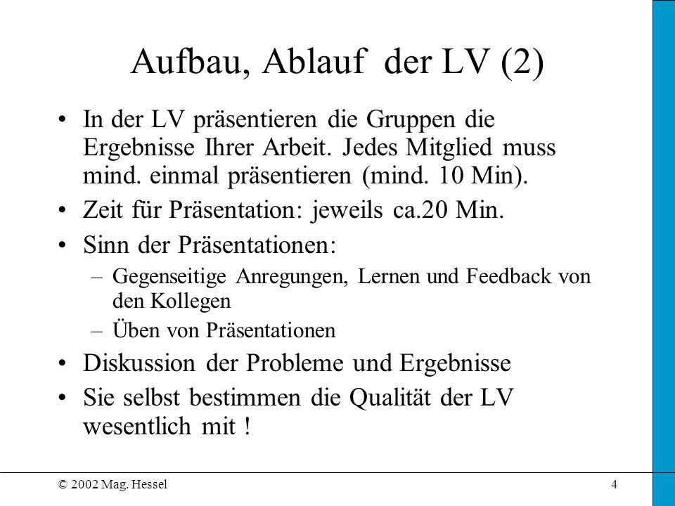 Aufbau, Ablauf der LV (2)