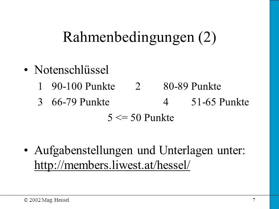Rahmenbedingungen (2) Notenschlüssel