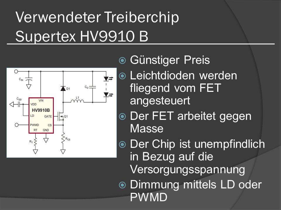 Verwendeter Treiberchip Supertex HV9910 B