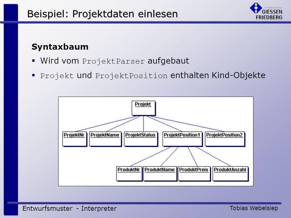 Beispiel: Projektdaten einlesen