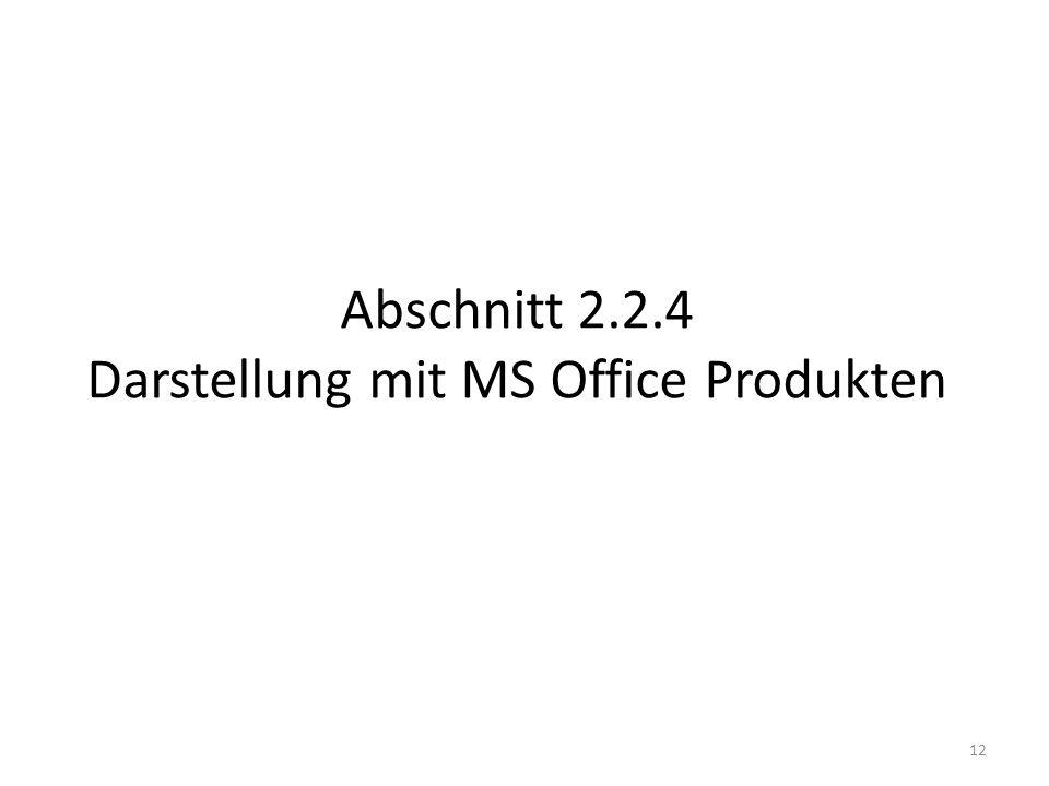Abschnitt 2.2.4 Darstellung mit MS Office Produkten
