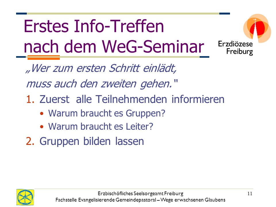 Erstes Info-Treffen nach dem WeG-Seminar