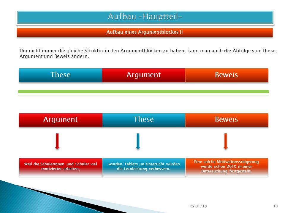 Aufbau –Hauptteil- These Argument Beweis Argument These Beweis