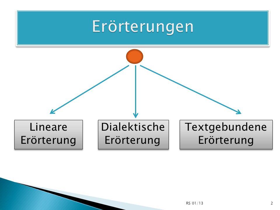 Erörterungen Lineare Erörterung Dialektische Erörterung Textgebundene