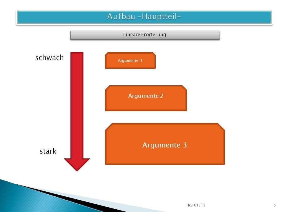 Aufbau –Hauptteil- schwach Argumente 3 stark Argumente 2