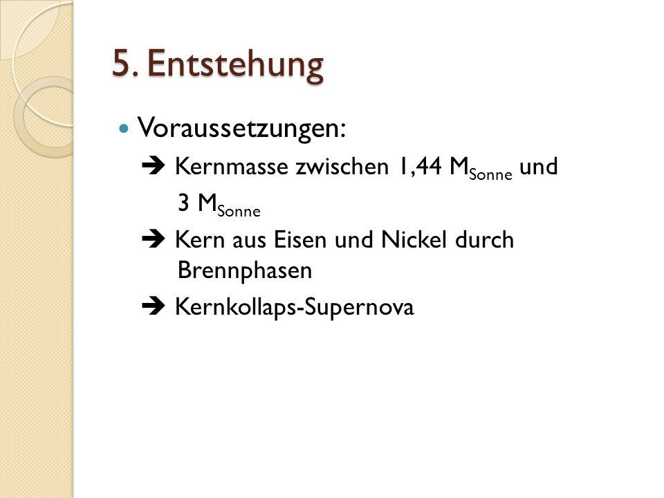 5. Entstehung Voraussetzungen:  Kernmasse zwischen 1,44 MSonne und