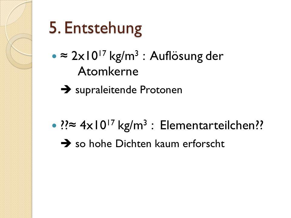 5. Entstehung ≈ 2x1017 kg/m3 : Auflösung der Atomkerne