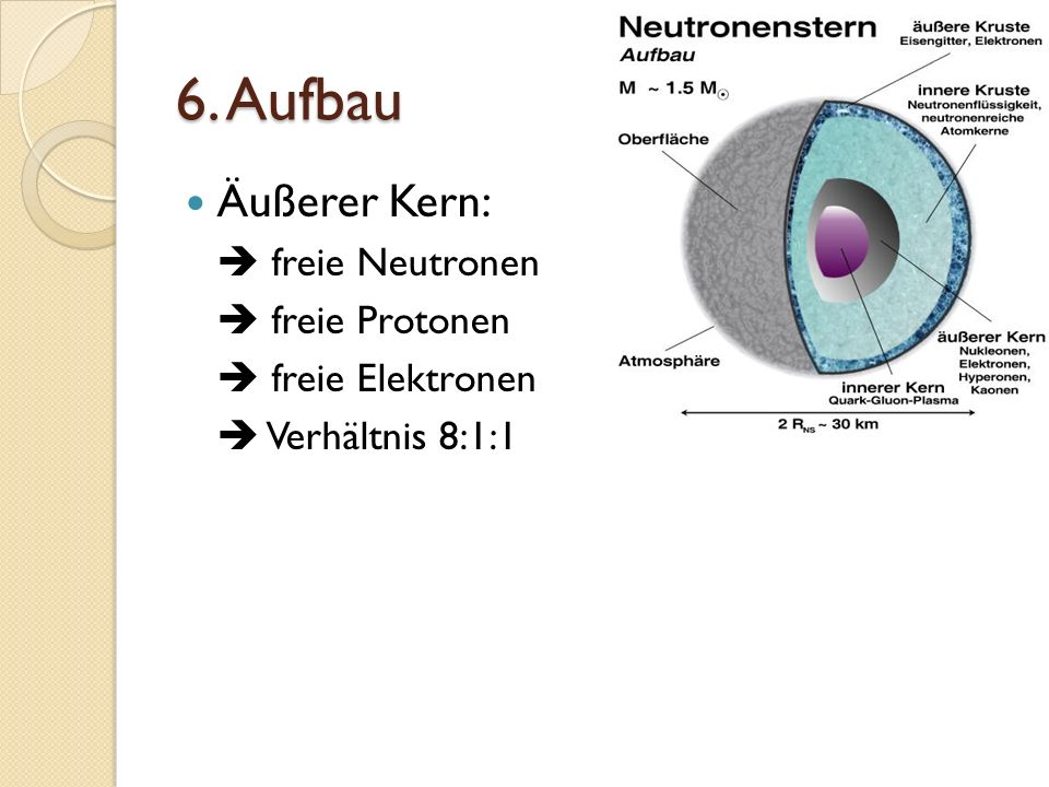 6. Aufbau Äußerer Kern:  freie Neutronen  freie Protonen
