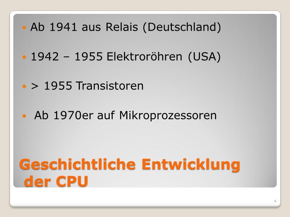 Geschichtliche Entwicklung der CPU