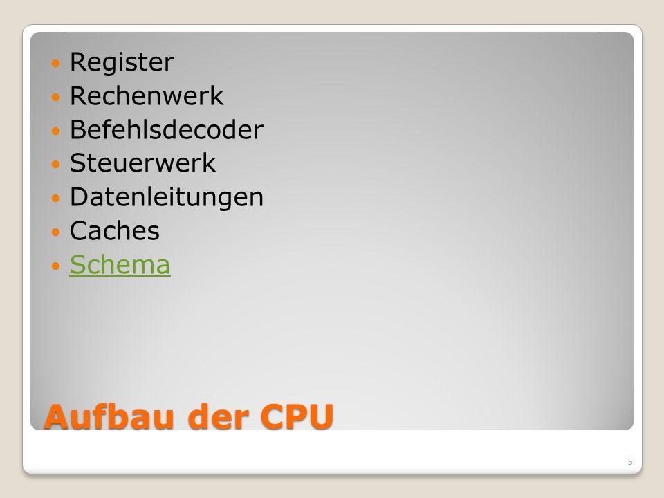 Aufbau der CPU Register Rechenwerk Befehlsdecoder Steuerwerk
