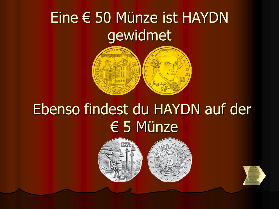 Eine € 50 Münze ist HAYDN gewidmet