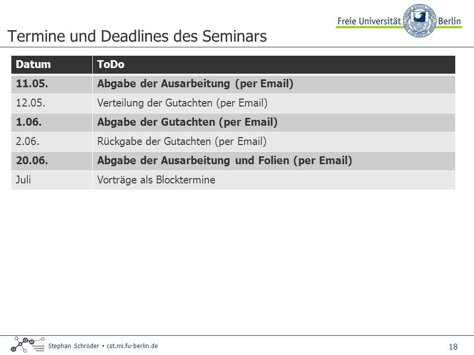 Termine und Deadlines des Seminars