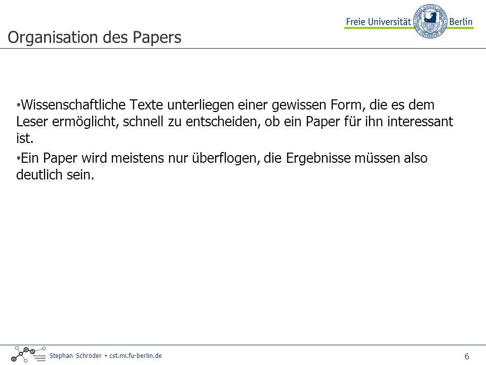 Organisation des Papers