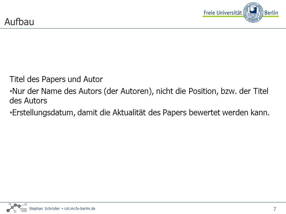 Aufbau Titel des Papers und Autor