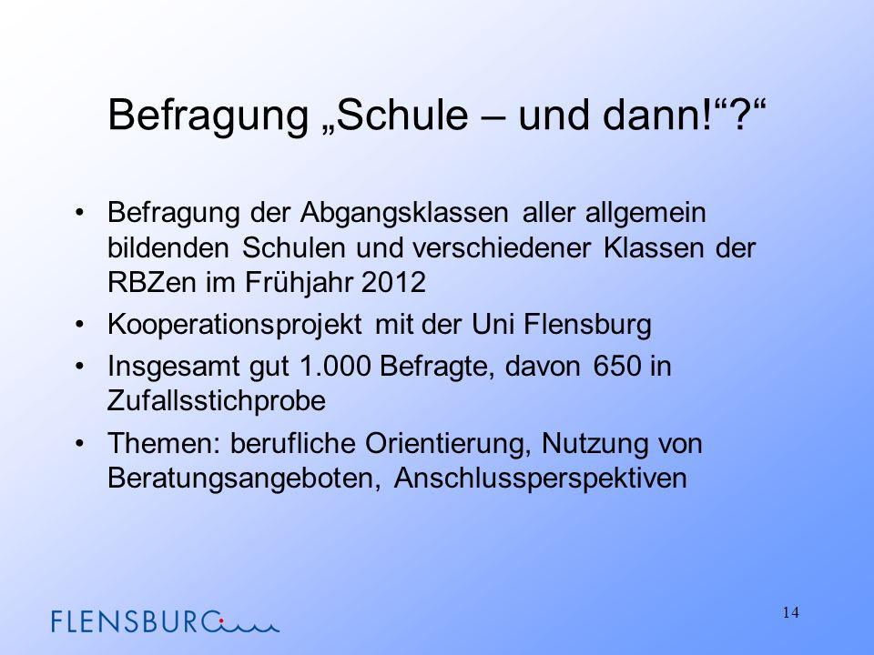 """Befragung """"Schule – und dann!"""