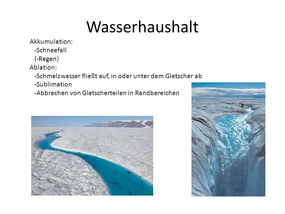Wasserhaushalt Akkumulation: -Schneefall (-Regen) Ablation: