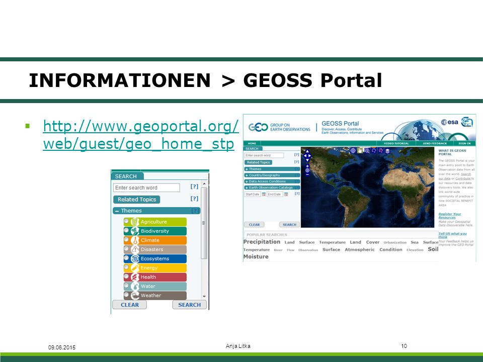 INFORMATIONEN > GEOSS Portal