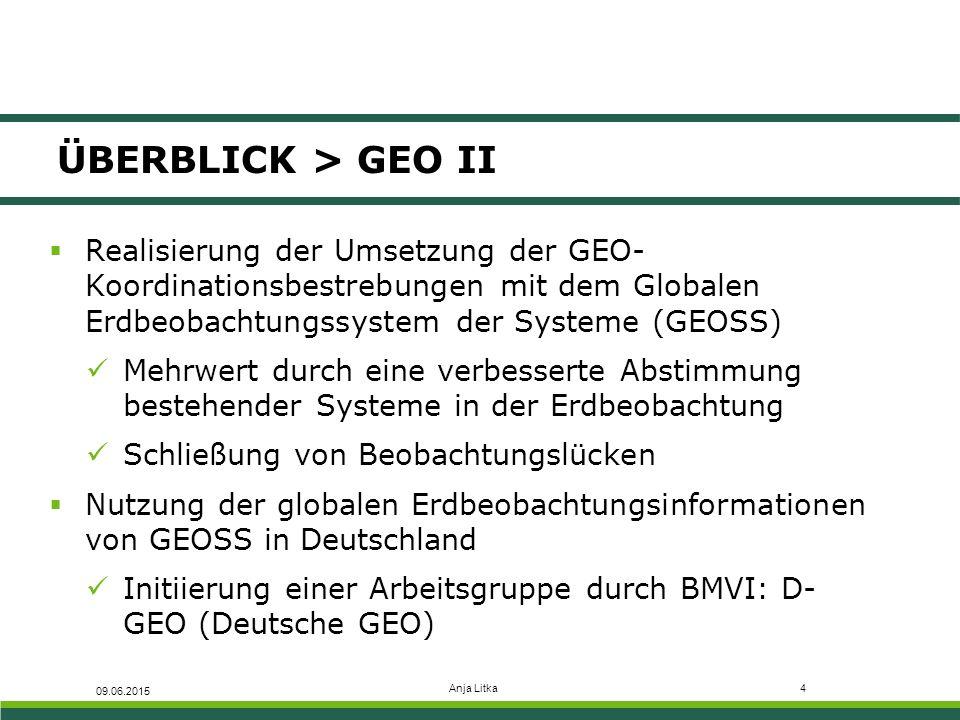 ÜBERBLICK > GEO II Realisierung der Umsetzung der GEO-Koordinationsbestrebungen mit dem Globalen Erdbeobachtungssystem der Systeme (GEOSS)