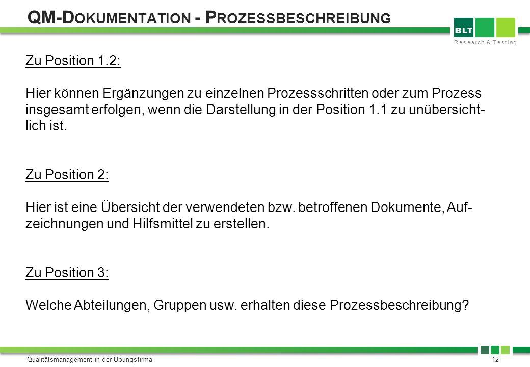 QM-Dokumentation - Prozessbeschreibung