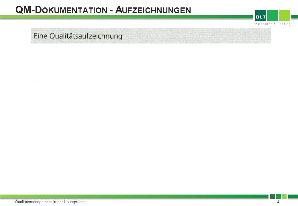 QM-Dokumentation - Aufzeichnungen
