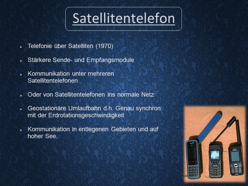 Satellitentelefon Telefonie über Satelliten (1970)