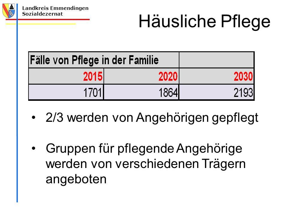 Häusliche Pflege 2/3 werden von Angehörigen gepflegt