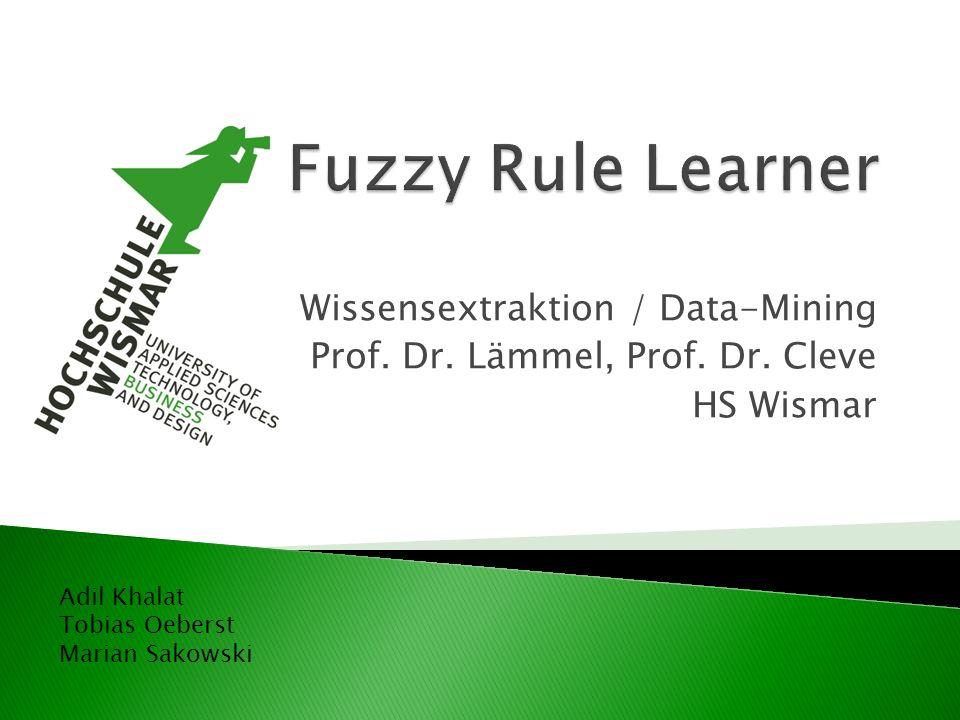 Fuzzy Rule Learner Wissensextraktion / Data-Mining