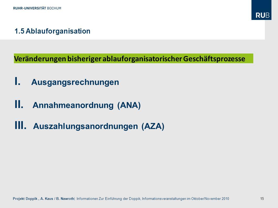 Annahmeanordnung (ANA) Auszahlungsanordnungen (AZA)