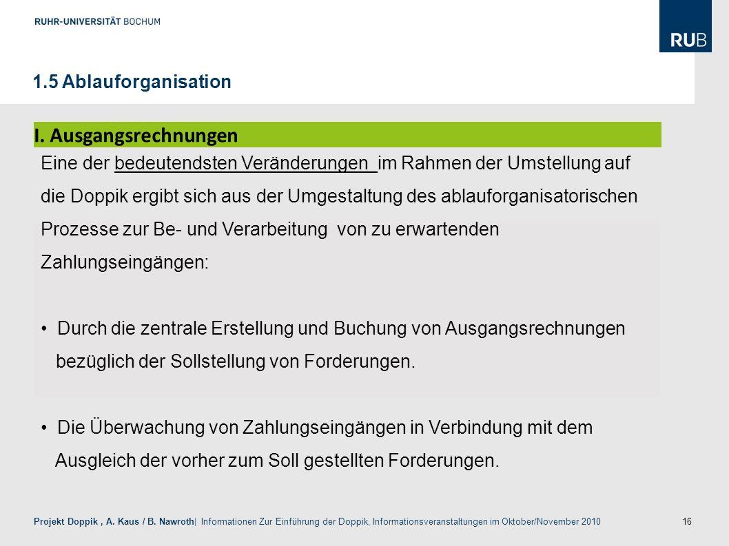 I. Ausgangsrechnungen 1.5 Ablauforganisation