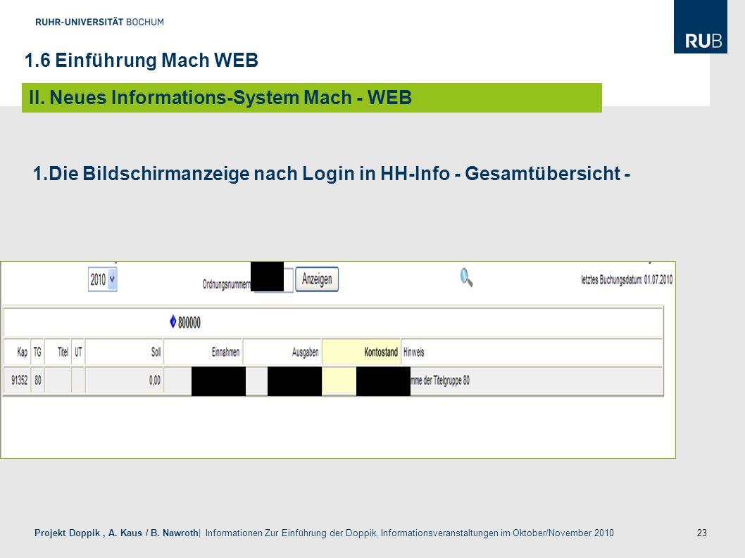 1.Die Bildschirmanzeige nach Login in HH-Info - Gesamtübersicht -
