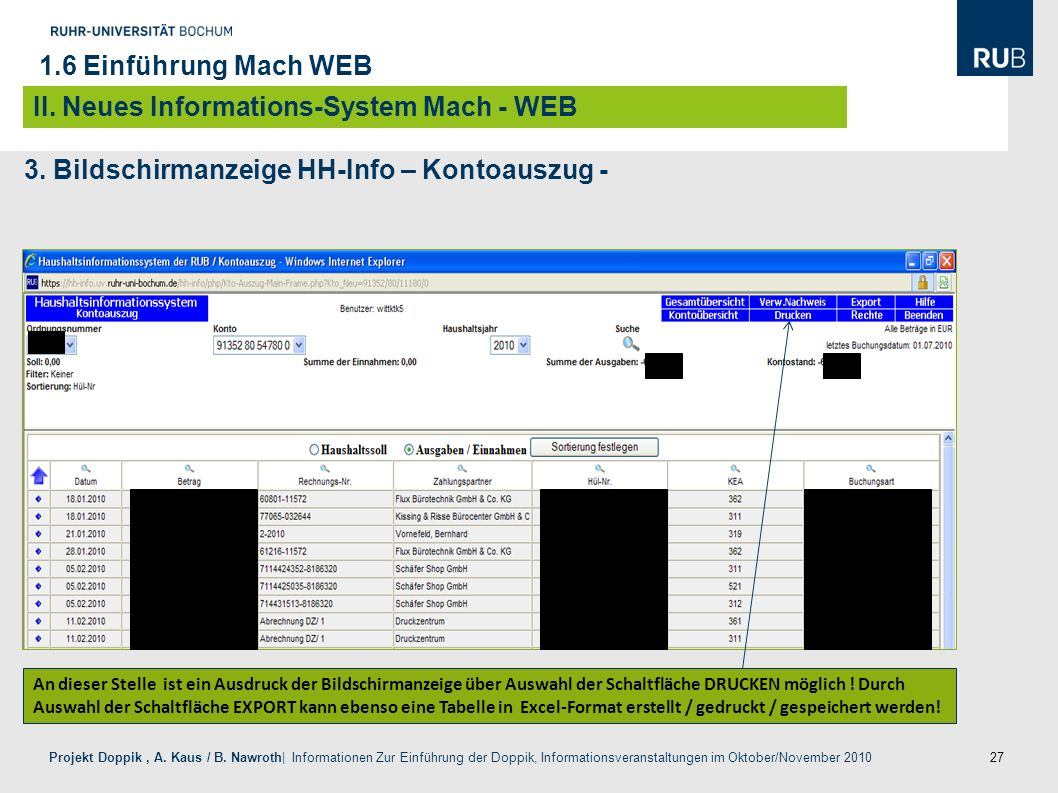 II. Neues Informations-System Mach - WEB