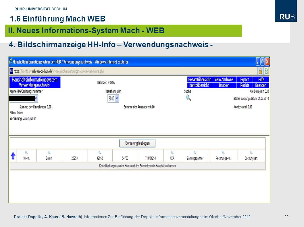 1.6 Einführung Mach WEB II. Neues Informations-System Mach - WEB.