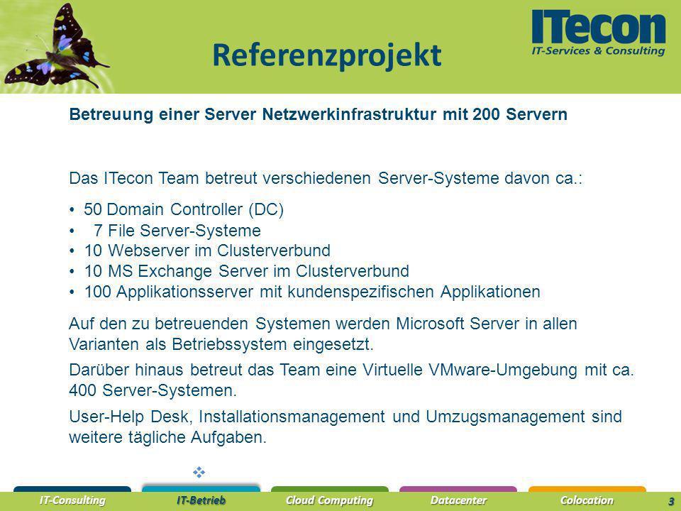 Referenzprojekt Betreuung einer Server Netzwerkinfrastruktur mit 200 Servern. Das ITecon Team betreut verschiedenen Server-Systeme davon ca.: