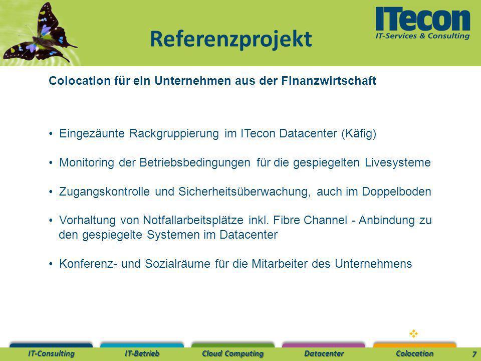Referenzprojekt Colocation für ein Unternehmen aus der Finanzwirtschaft. Eingezäunte Rackgruppierung im ITecon Datacenter (Käfig)