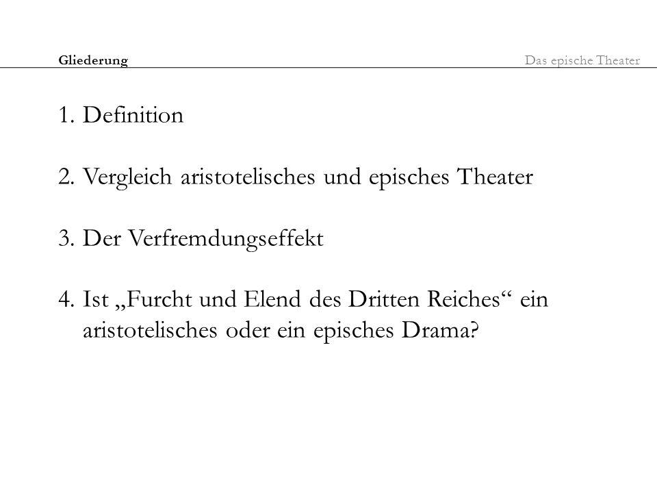 Vergleich aristotelisches und episches Theater Der Verfremdungseffekt