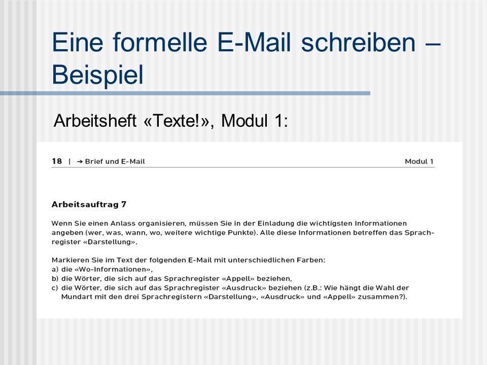 Eine formelle E-Mail schreiben – Beispiel