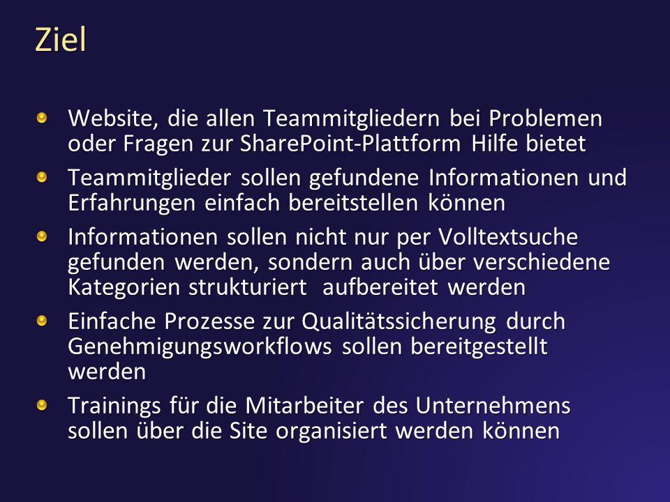 Ziel Website, die allen Teammitgliedern bei Problemen oder Fragen zur SharePoint-Plattform Hilfe bietet.