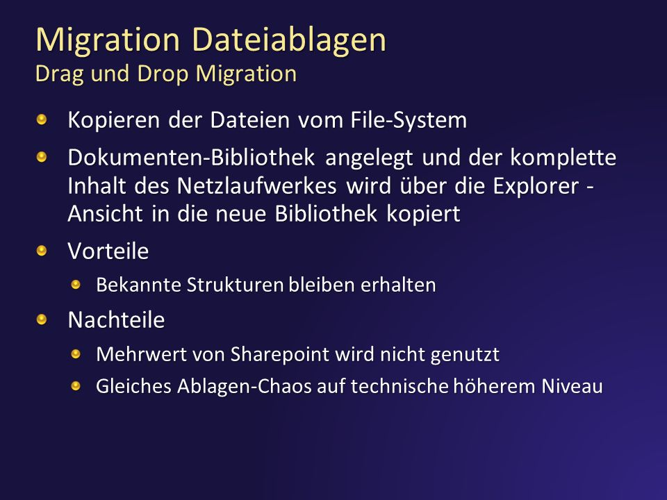 Migration Dateiablagen Drag und Drop Migration