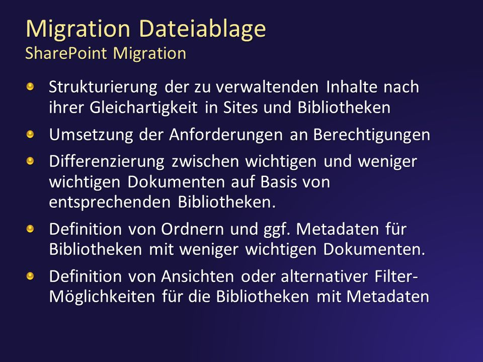 Migration Dateiablage SharePoint Migration