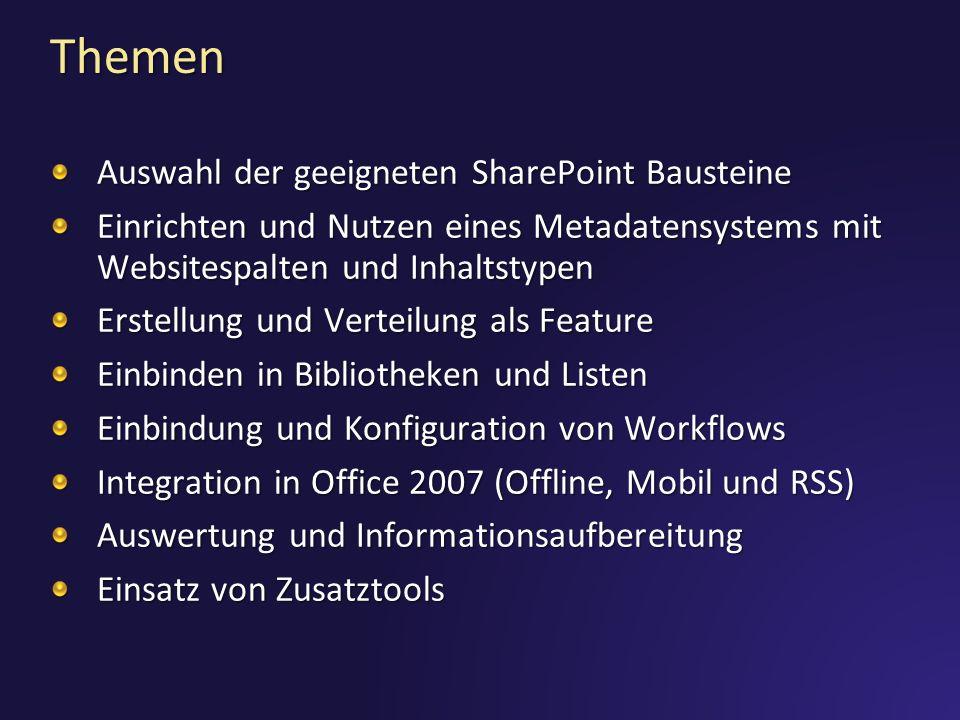 Themen Auswahl der geeigneten SharePoint Bausteine