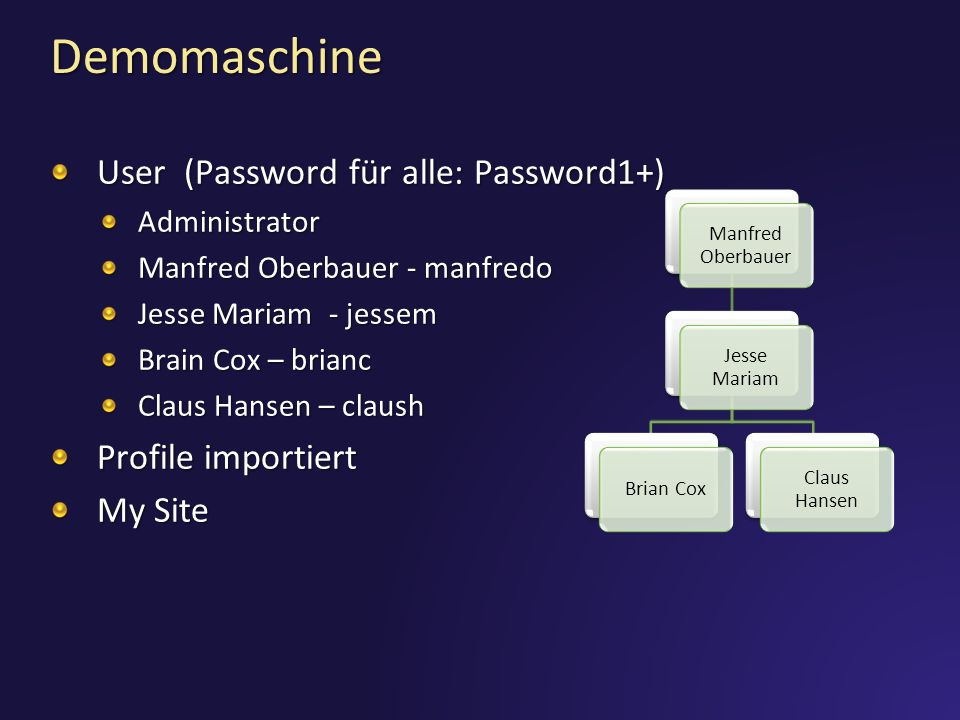 Demomaschine User (Password für alle: Password1+) Profile importiert