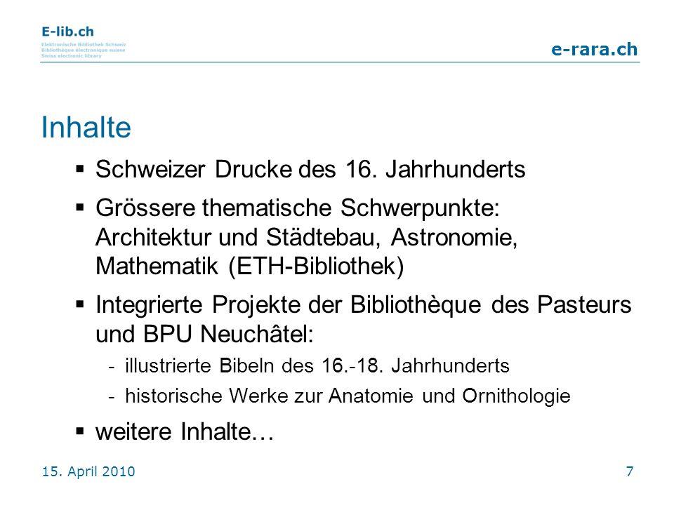 Inhalte Schweizer Drucke des 16. Jahrhunderts