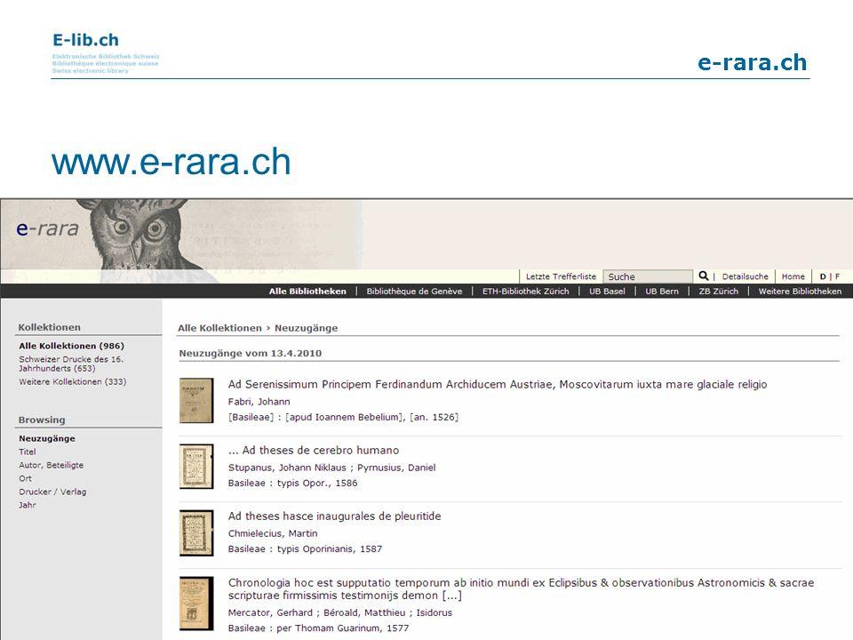 www.e-rara.ch 15. April 2010