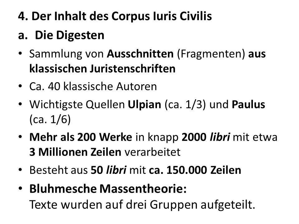 4. Der Inhalt des Corpus Iuris Civilis Die Digesten