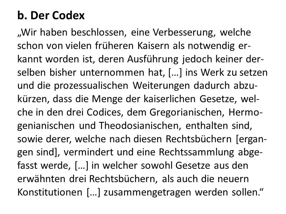 b. Der Codex