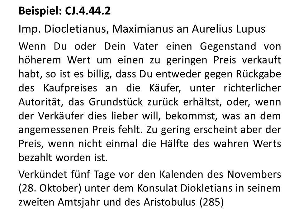 Imp. Diocletianus, Maximianus an Aurelius Lupus