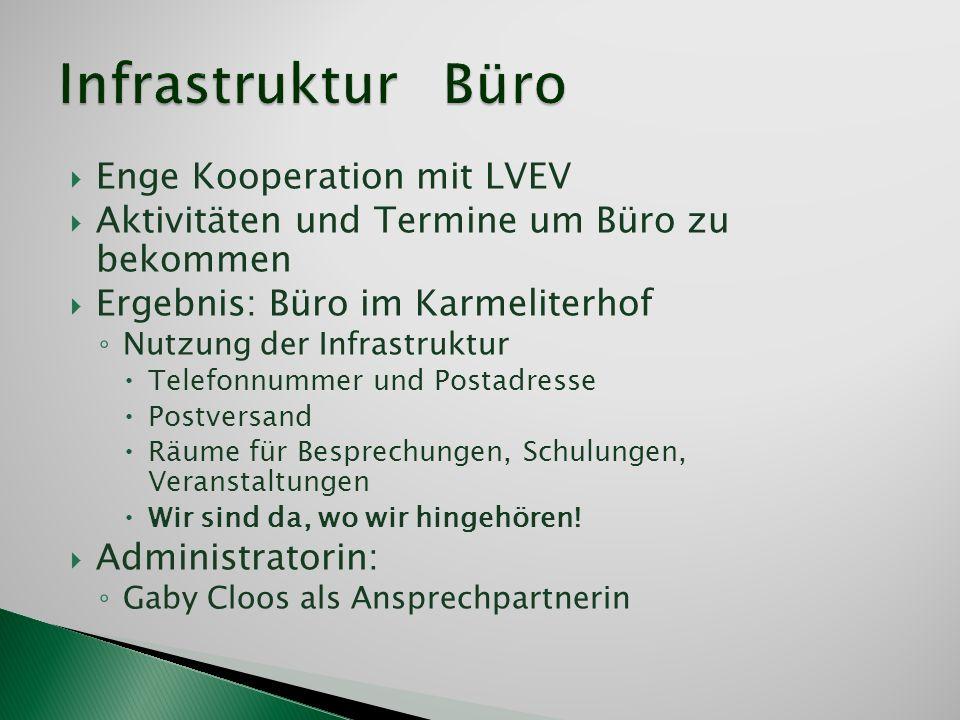 Infrastruktur Büro Enge Kooperation mit LVEV